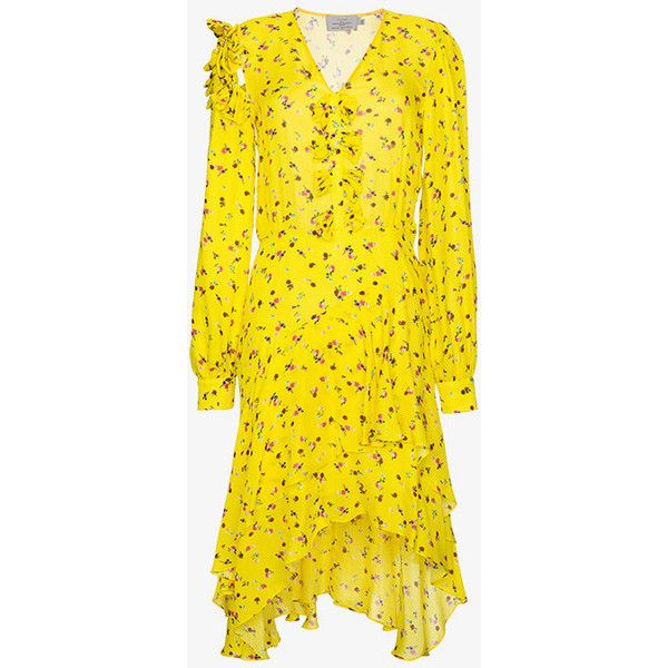 Preen By Thornton Bregazzi Margo Floral Print Asymmetric Dress (1 725 AUD) ❤ liked on Polyvore featuring dresses, yellow dress, yellow floral dress, asymmetrical dresses, flower design dresses and floral dresses