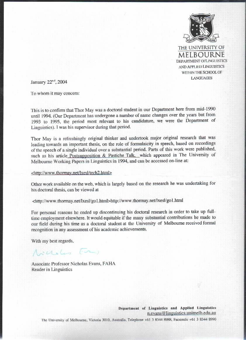 Cover Letter Template Unimelb