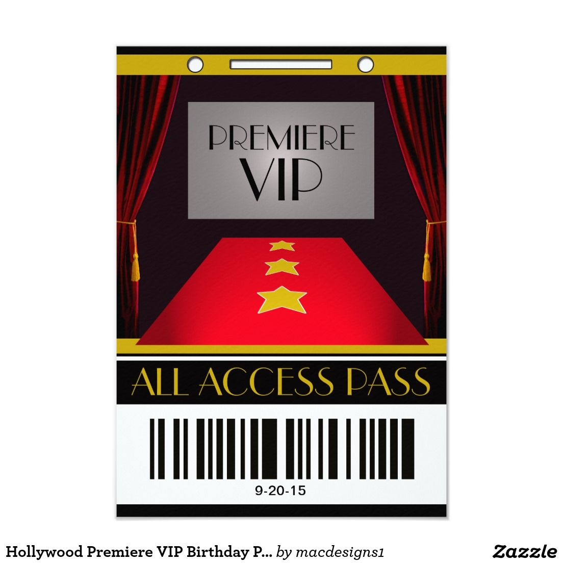 Hollywood Premiere VIP Birthday Party Card | Vip, Birthdays and ...