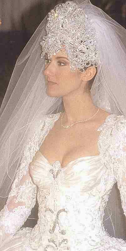 Celine Dion In Her Wedding Dress Celine Dion Wedding Wedding Dresses Celebrity Wedding Dresses