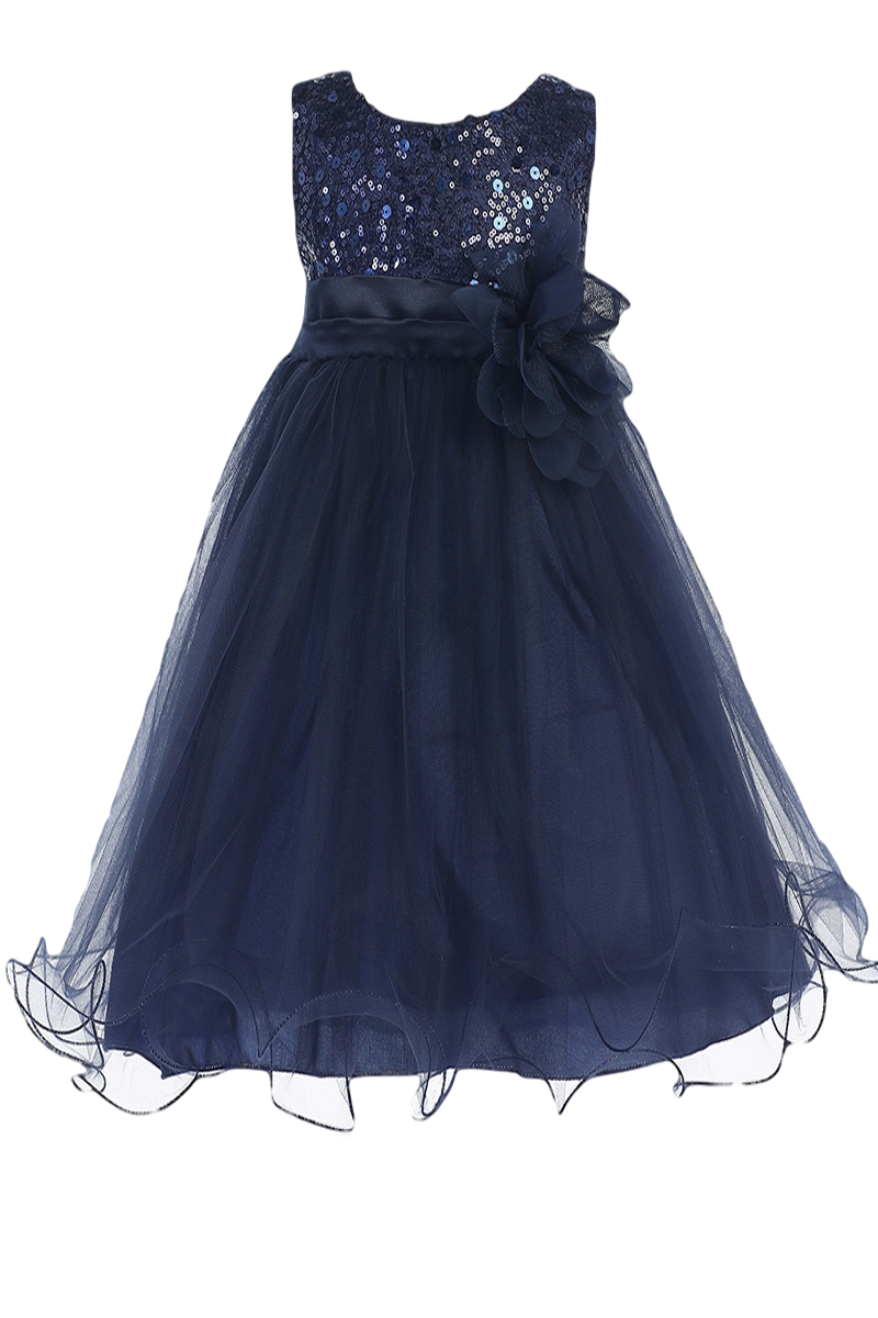 Navy blue sequined girls party dress w lettuce hem tulle 3m 24m navy blue sequins satin 2 layer mesh overlay dress with double ruffle hem baby girls sizes izmirmasajfo