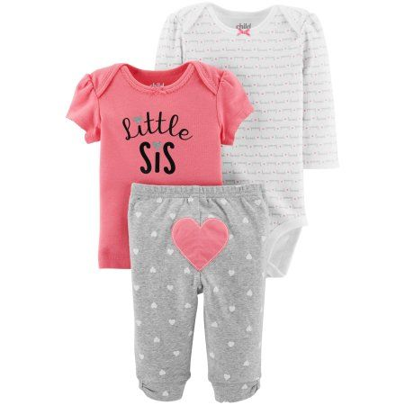 "Baby Girls /""Little Sis/""  24M 24 month long sleeve Bodysuit gray Carter/'s NWT^^"