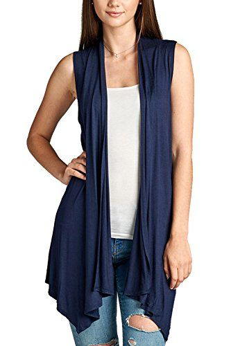 Womens Long Vests Sleeveless Draped Lightweight Open Front Plus Size Casual Cardigan Blazer Vest with Side Pockets
