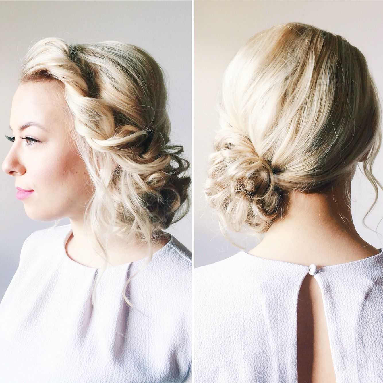 Textured rope braid, with a side bun. Hair & makeup by kls | Prom ...