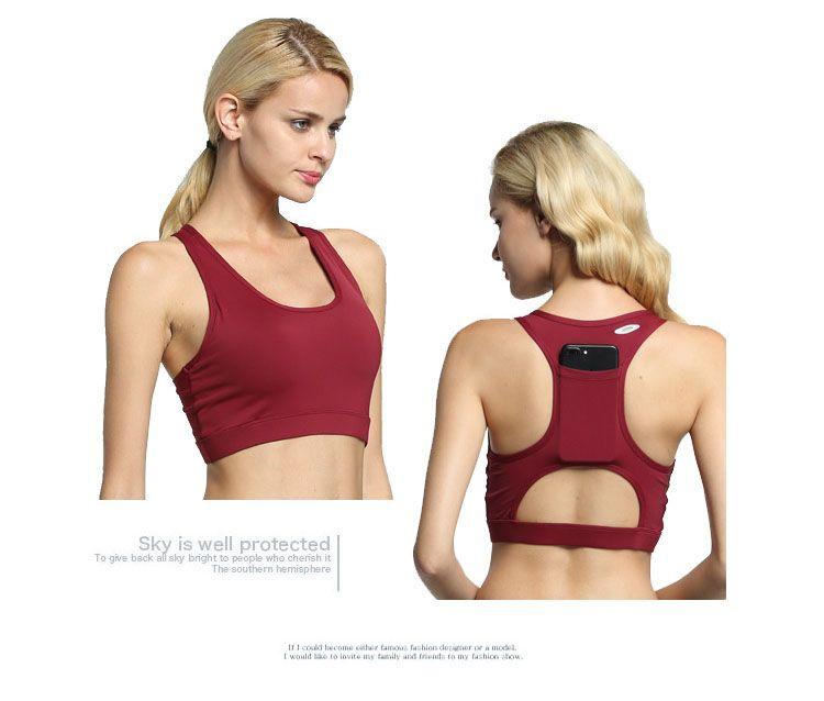 397819a6c3c48 2018 Yoga Underwear Back pocket Yoga Shockproof Sports bra Female High end  quality Fitness top Sport