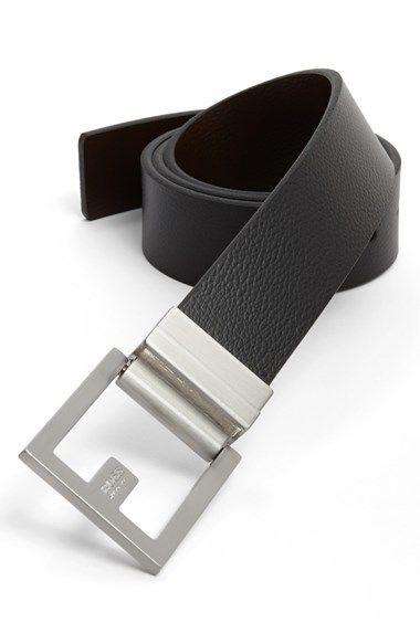 Mens Reversible Italian Leather Belt Black//Dark Brown Italian Leather Top Grain Color Safe on Dress Pants
