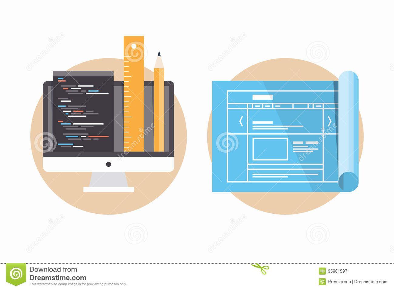 Website programming development icons flat design modern website programming and development icons by bloomua flat design modern vector illustration icons set of website programming and coding web page blueprint malvernweather Choice Image