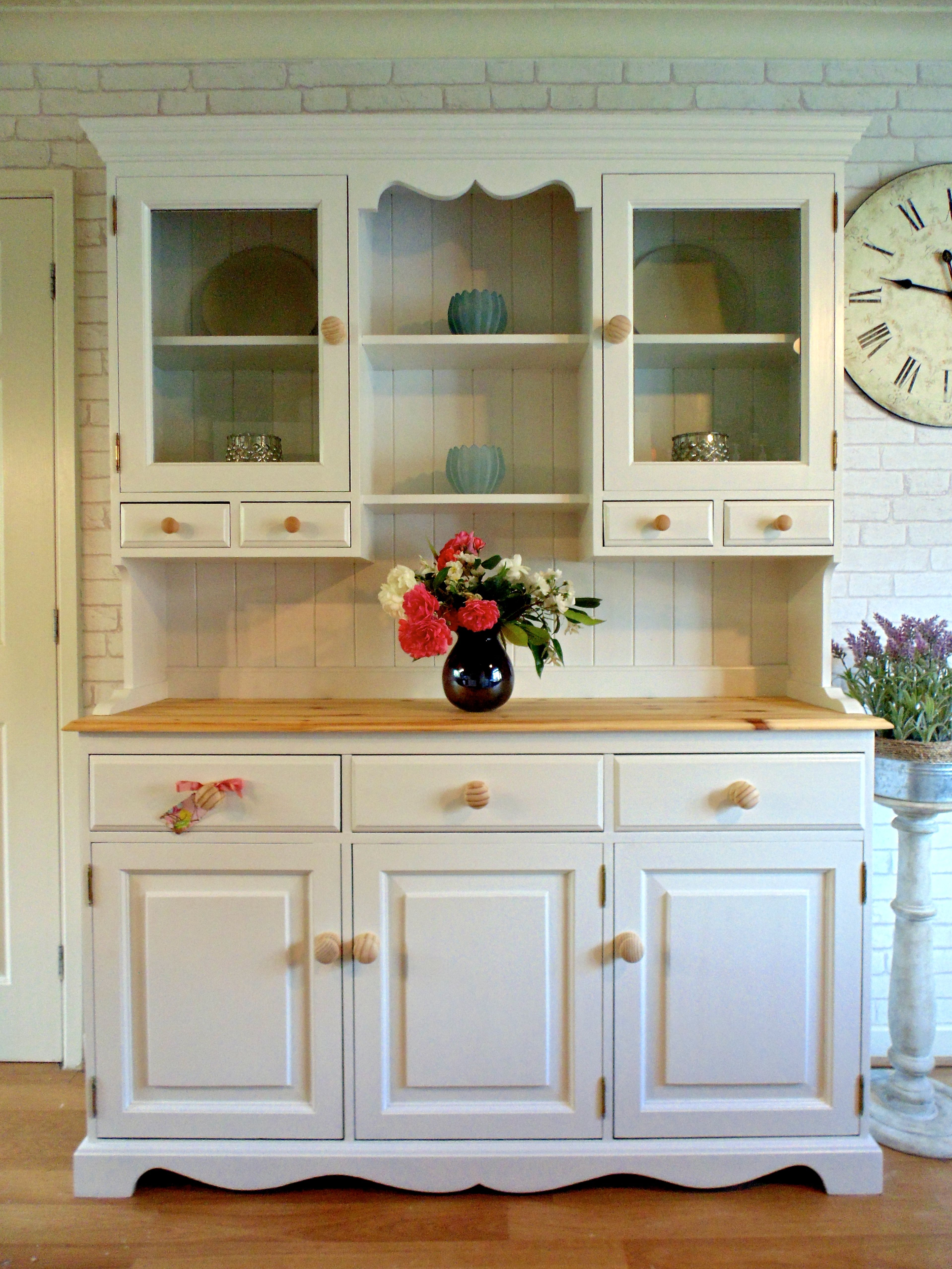 Best Super Solid Pine Large Kitchen Dresser Painted In Farrow 640 x 480