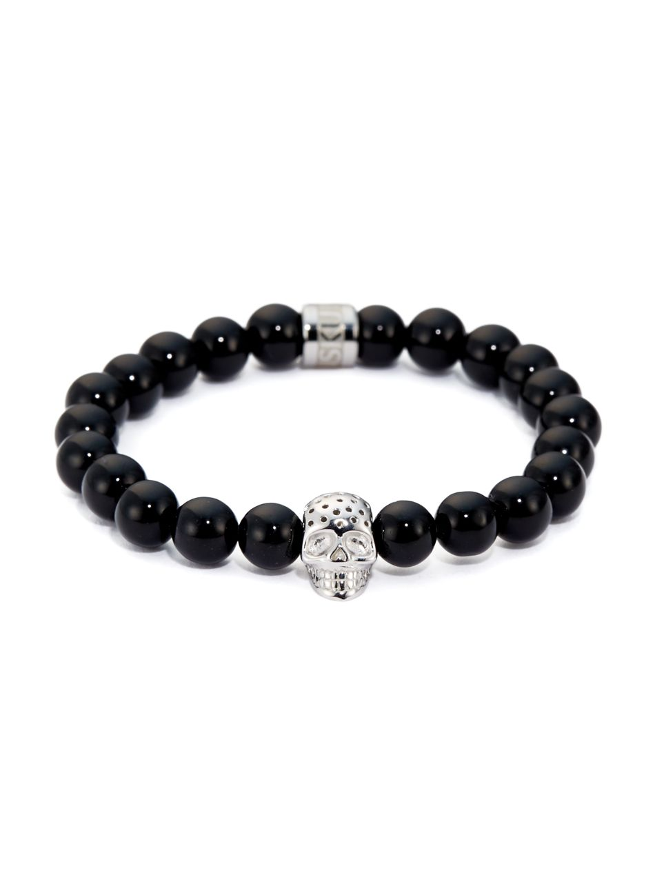 Northskull Black Onyx And Perforated Silver Skull Charm Bracelet