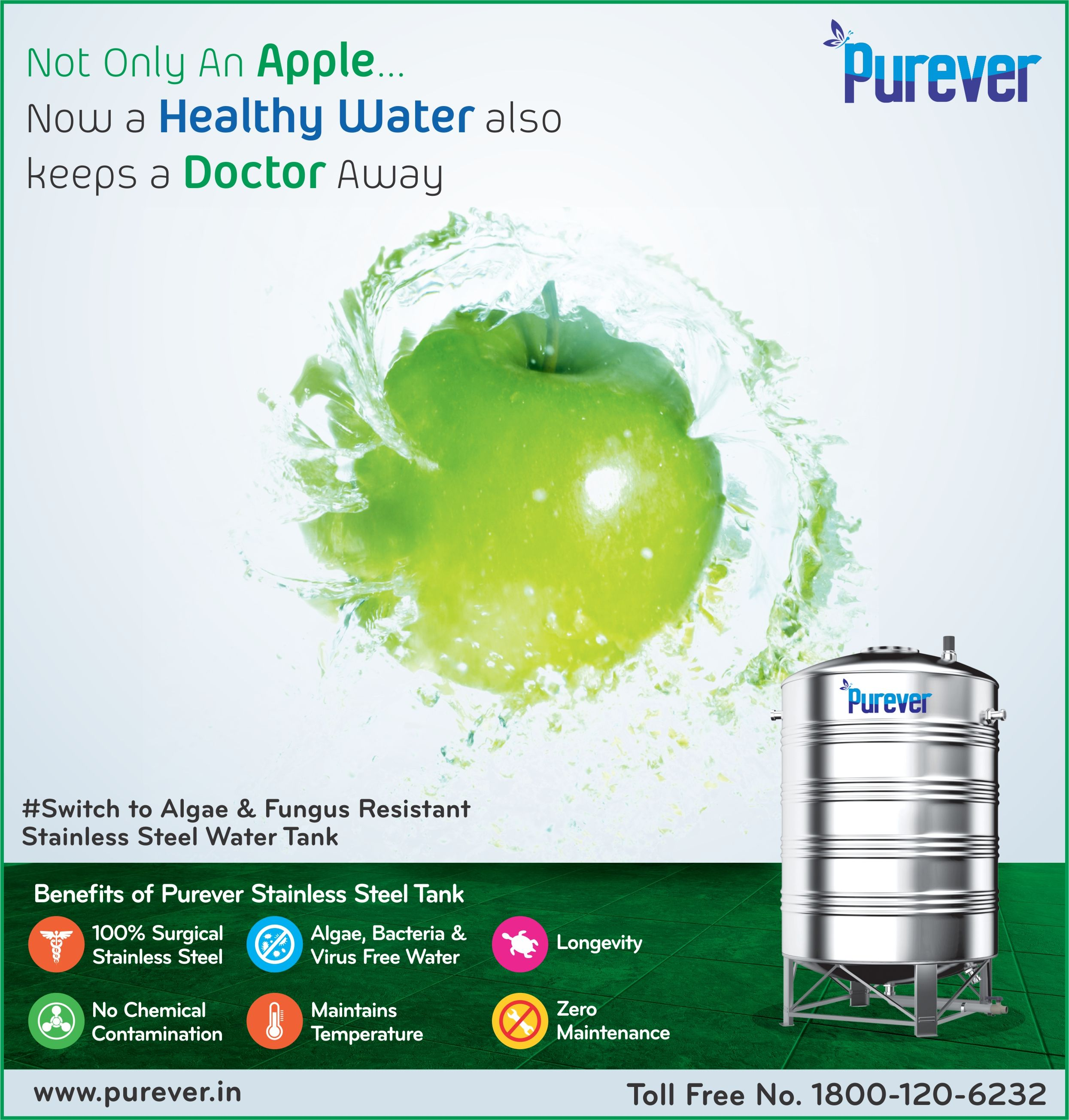 Not Only Apple Now Healthy Water Keeps Doctor Away Switch To Algae Fungus Resistant Free Purever Stainless Steel Water Tanks Water Tank Steel Water