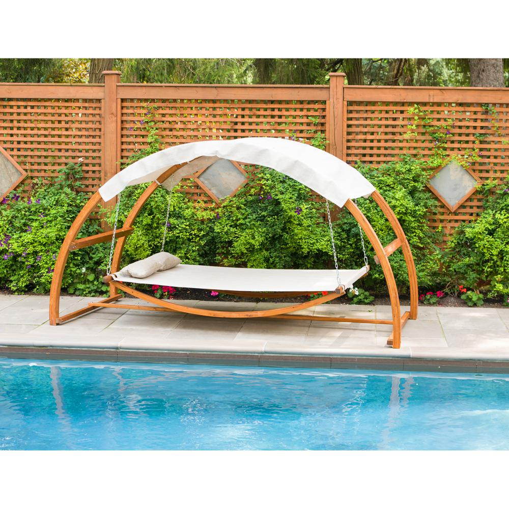 Leisure Season Patio Swing Bed With Canopy Sbwc402 Patio Swing