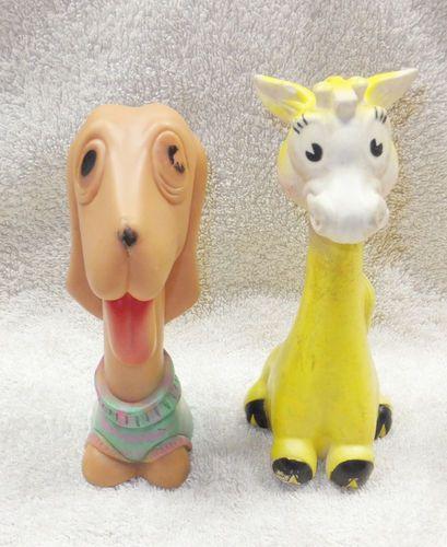 Vintage Rubber Giraffe Dog Squeaky Toy Animal Bath Dog Child