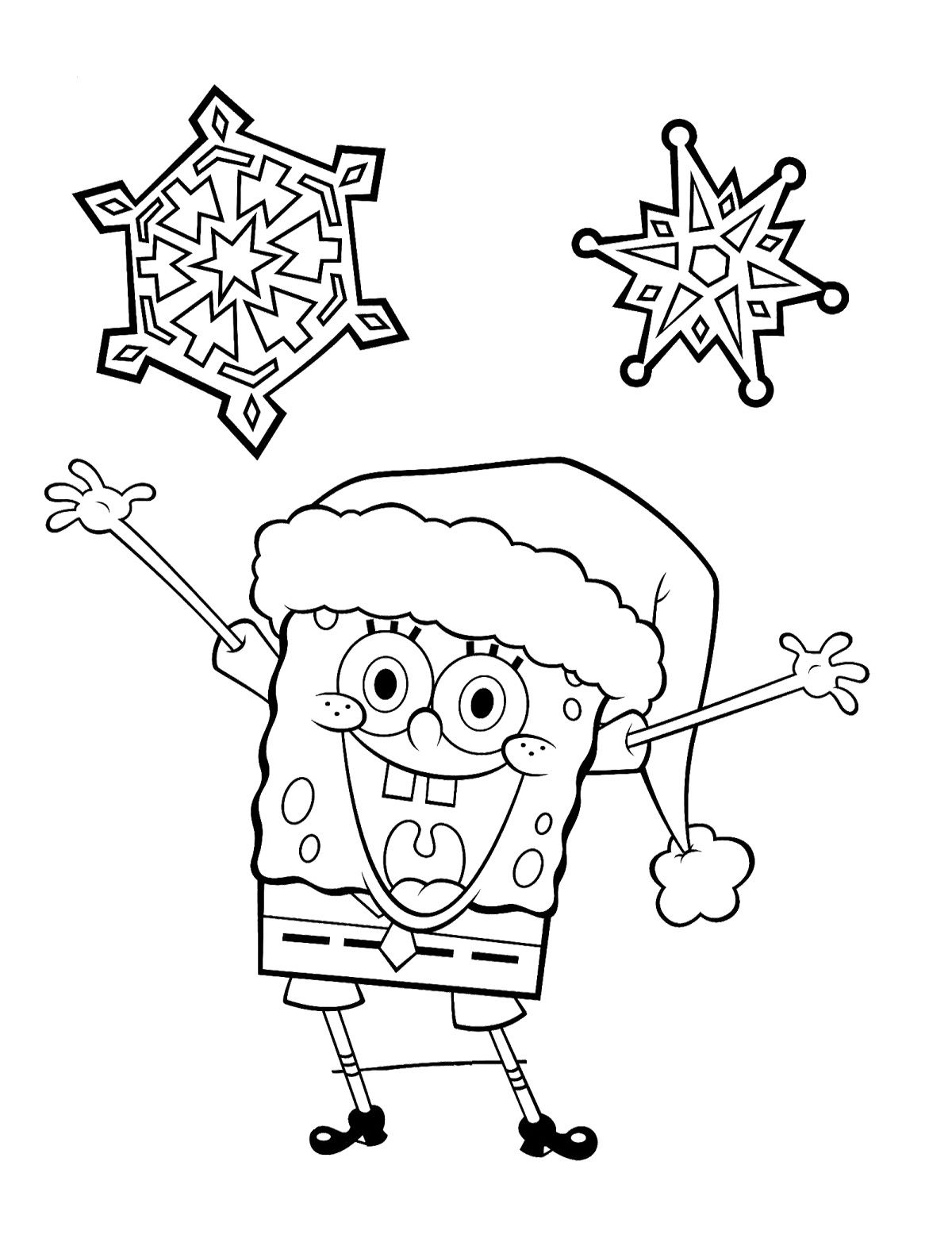 Spongebob Christmas Laugh And Happy Coloring Pages Spongebob Christmas Christmas Prints Coloring Pages