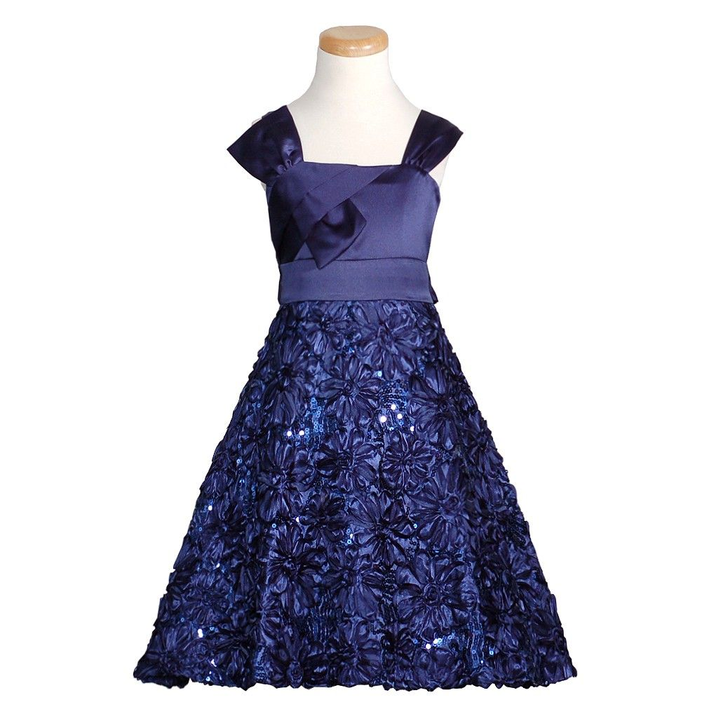 Rare Editions Navy Satin Sequin Flower Bow Christmas Dress Girls 7 ...
