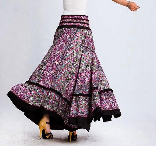Skirt Length Flower Motif Dress Fashion - mmdoing | Skirts ...
