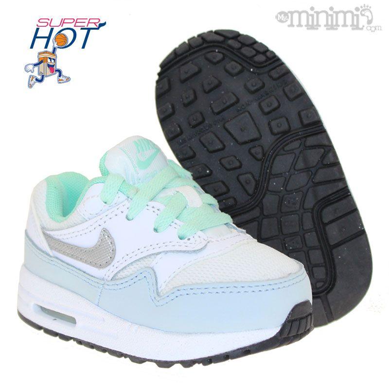 size 40 6c8a5 8f8d3 Photo Nike Air Max 1 TD - baskets enfant du 19,5 au 27 - Blanc, argent et  mint  minimi  kids  shoes  sneakers  fashion  swagg