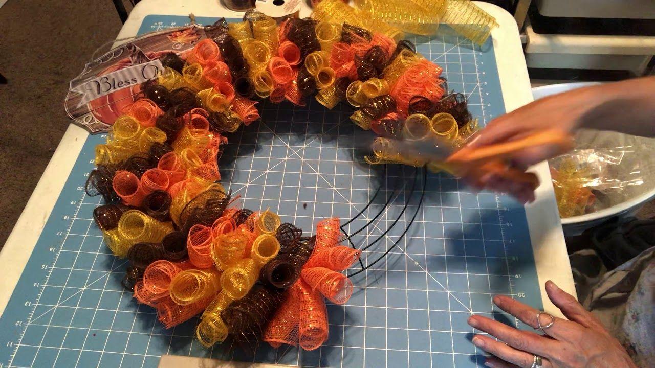 Dollar Tree Fall Wreath Made With Rolls Youtube Deco Mesh