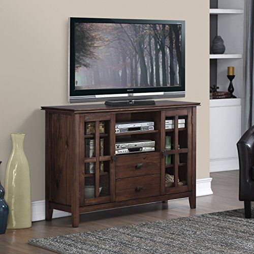 Simpli Home Artisan Tall TV Media Stand, Natural Aged Brown http ...