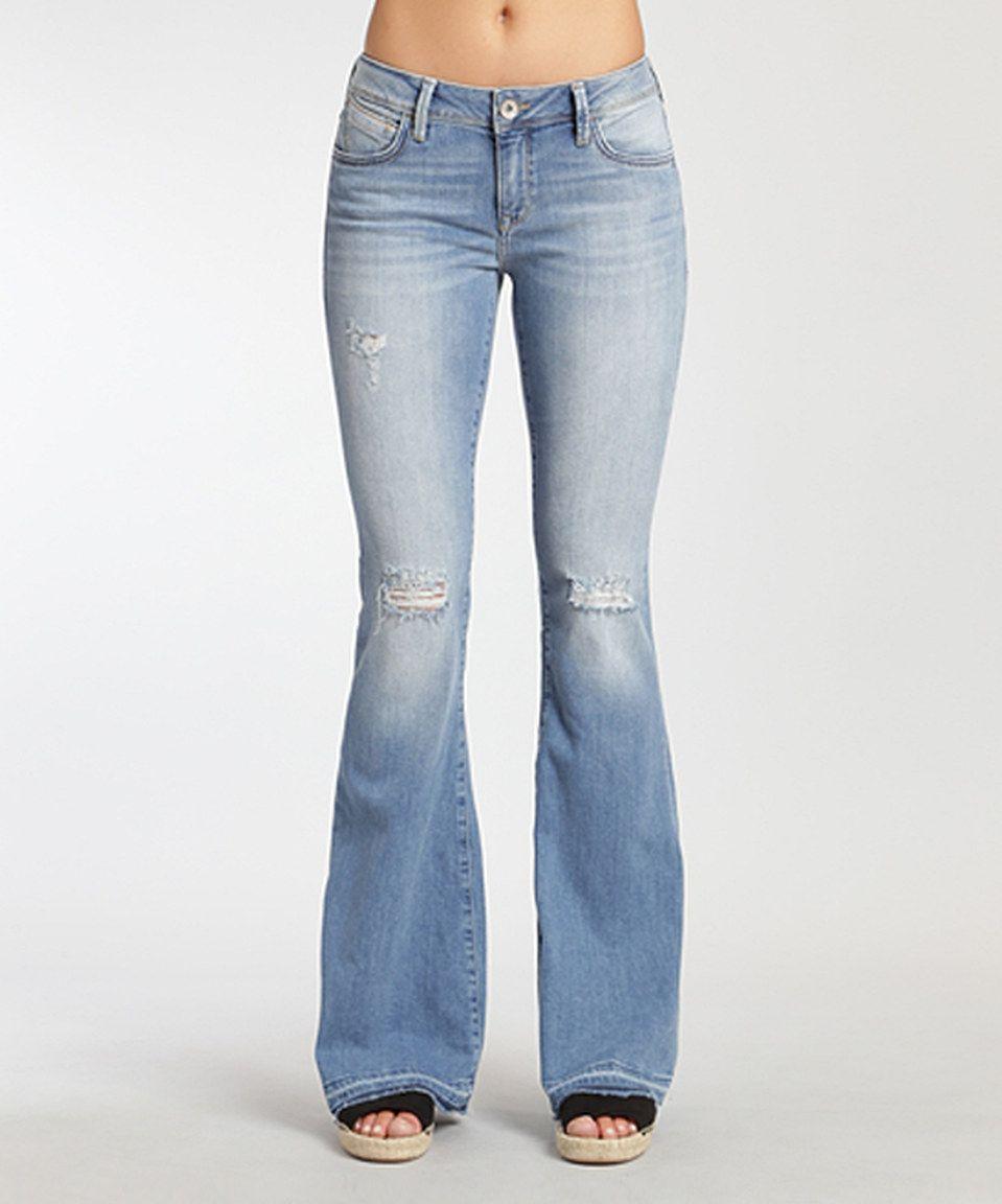 This Mavi Peace Light Rip Flare Jeans by Mavi is perfect!  zulilyfinds 672586f03