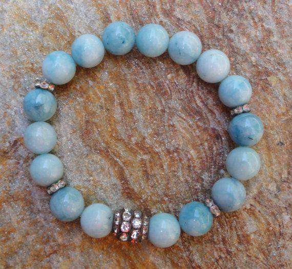 Aquamarine Gemstone Beaded Boho Stretch Bracelet by GlitterFusion
