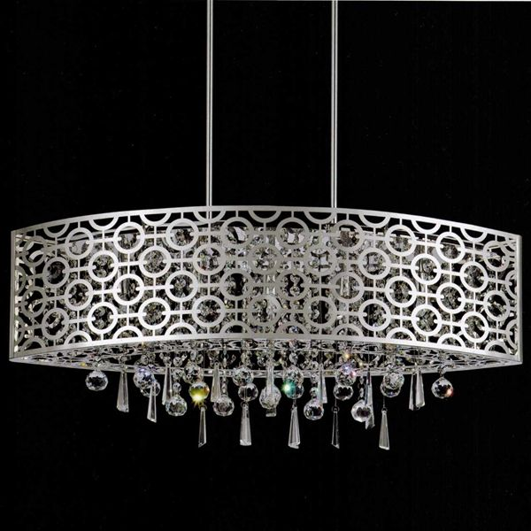 Picture Of Forme Modern Laser Cut Drum Shade Oval Crystal - Chandelier with crystals and drum shade