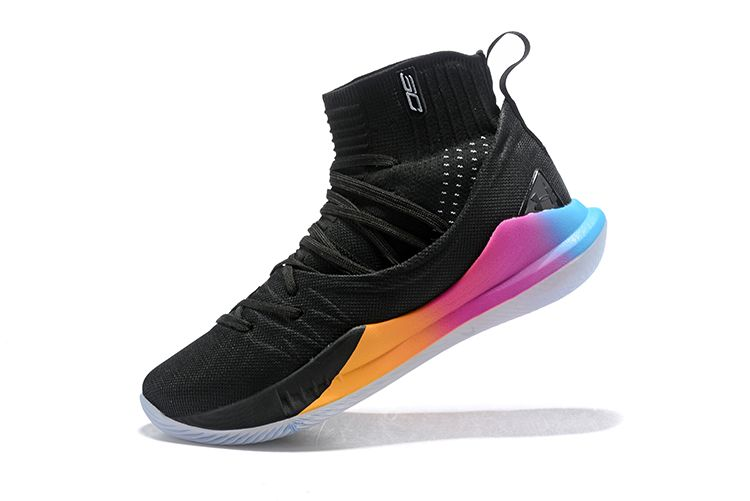 cheap for discount 829d9 80446 Real Under Armour Curry 5 High Black Multi Color Mens Basketball Shoes For  Sale