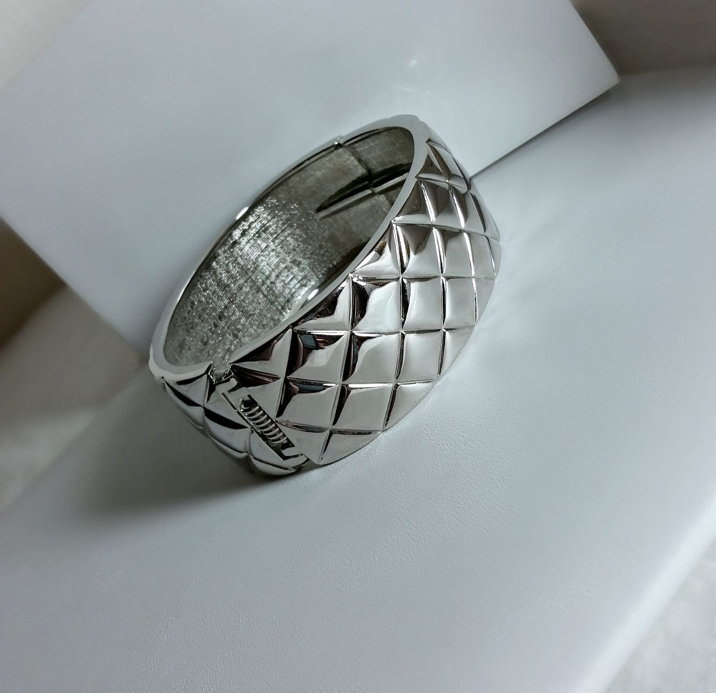 Silver Hinged Wide Cuff Quilt Pattern Bracelet