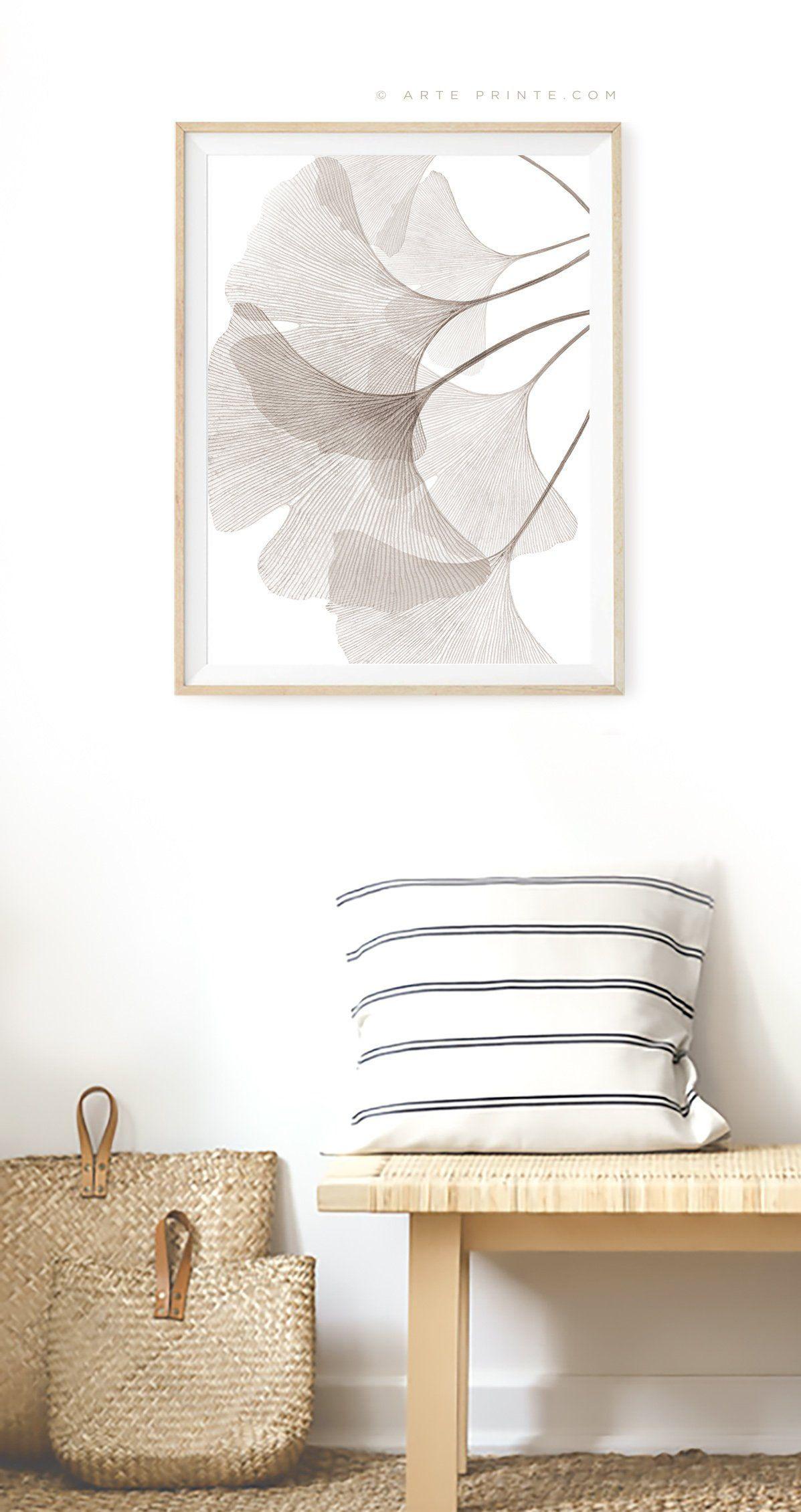 Ginkgo Leaf Print Brown Taupe Wall Art Modern Botanical Print Transparent Ginko Leaves Printable Poster Bedroom Wall Decor Digital Download In 2020 Wall Decor Bedroom Taupe Walls Home Decor Wall Art