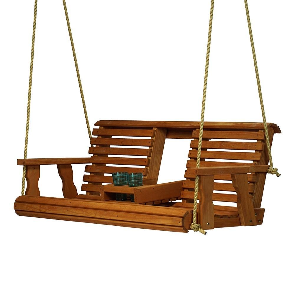 Porchgate Amish Heavy Duty 700 Lb Rollback Console Treated Porch Swing With Hanging Ropes Porch Swing Cedar Stain Porch