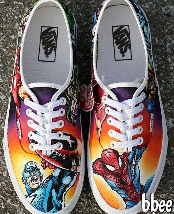 Hand-painted custom made Marvel Vans