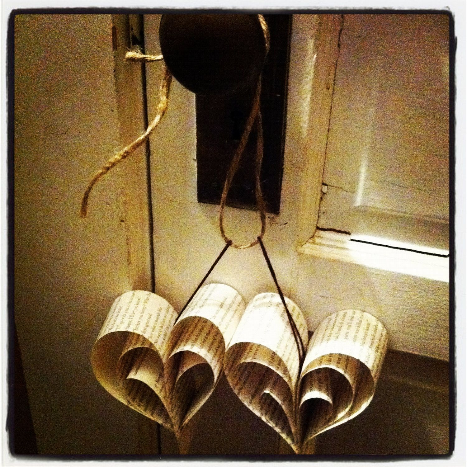 Rustic Heart Decor (8 Recycled Heart Ornaments on 6 foot Twine). $18.50, via Etsy.