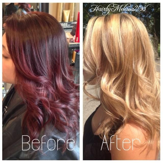 How To Deep Dark Red To Honey Blonde Red Blonde Hair Color Correction Hair Hair Color Remover