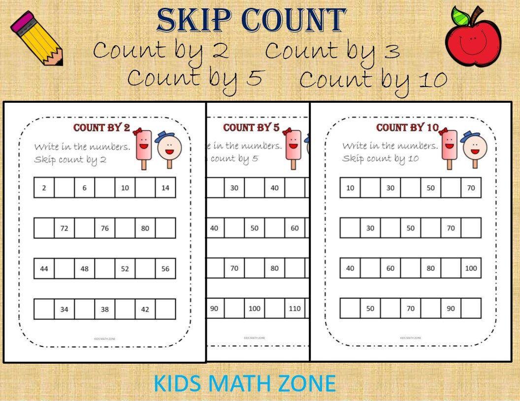 Count By 2 Count By 3 Count By 5 Count By 10 Skip Count Etsy Math Worksheets Kids Math Worksheets Printable Preschool Worksheets [ 816 x 1056 Pixel ]
