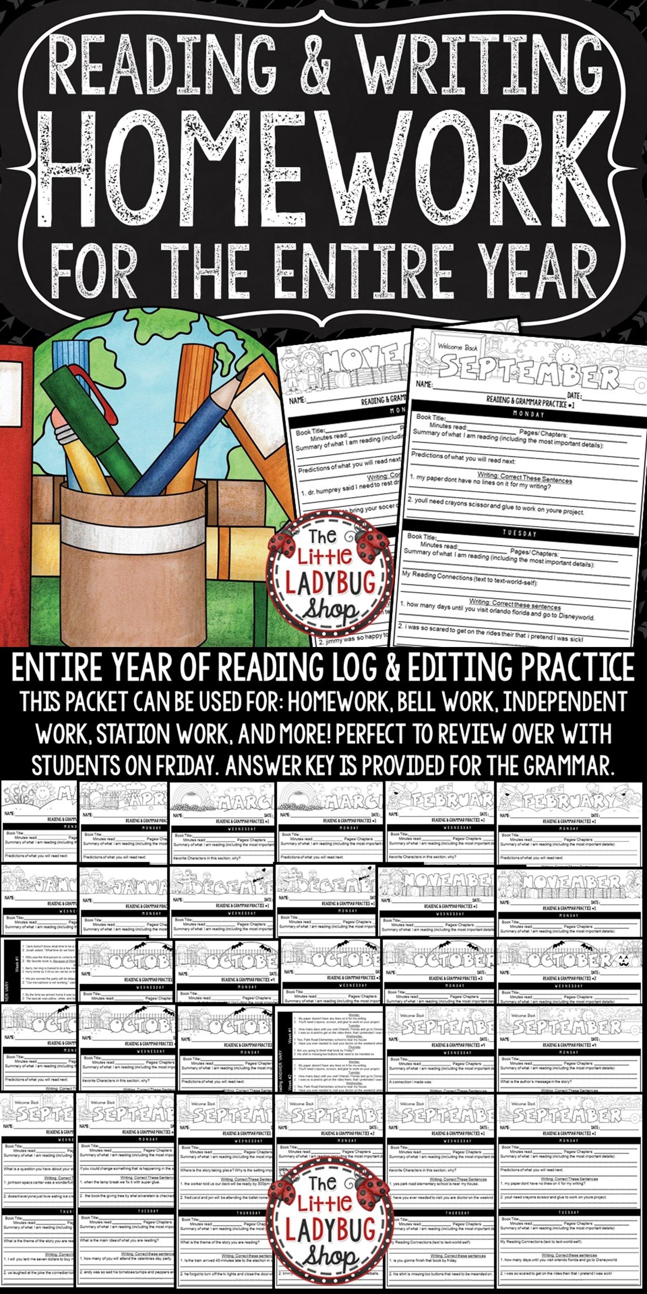 Reading Logs Homework & Grammar Practice 3rd 4th Grade