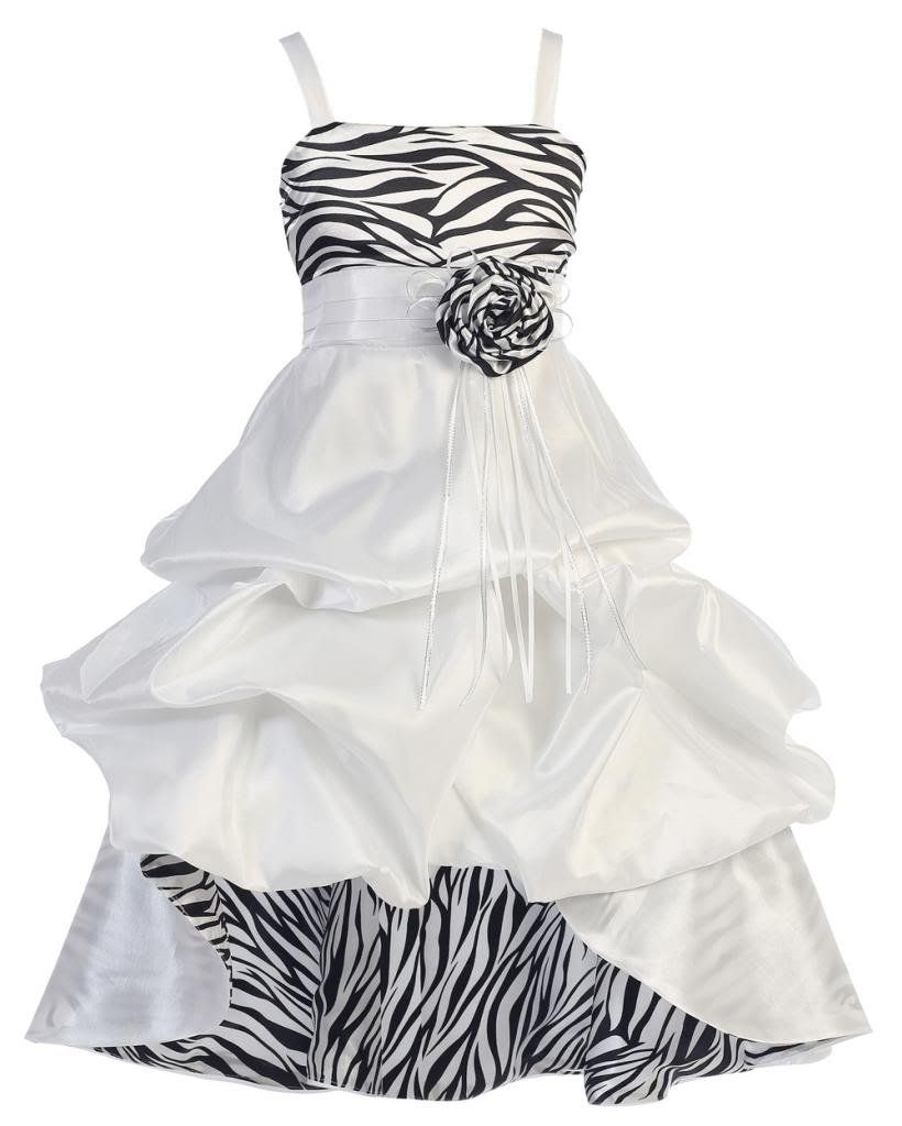 b5e6cd757a Amazon.com  Wonder Girl Sasha Big Girls  Taffeta Zebra High Low Dress 10