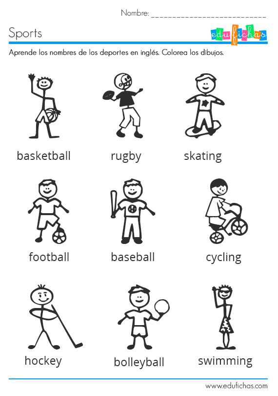 Ficha educativa infantil con vocabulario para aprender los deportes ...