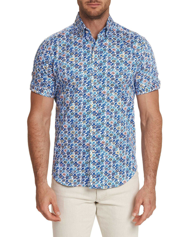 Men S Short Sleeve Meyer Shirt In Blue Men Short Sleeve Designer Mens Shorts Robert Graham