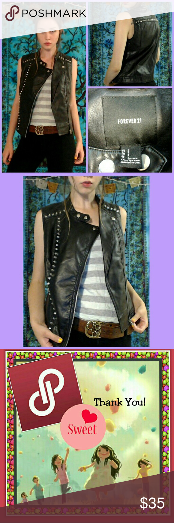 "💀Black Studded Moto Vest Jacket S/M 💀 Forever 21, F21 Black Vegan/Faux Leather Studded Moto Jacket Vest/Gilet. Rare. I haven't came across one just like this? 27 Studs on Front Side, 18 Studs on Upper Back Across, 6 Studs on Each Side of Shoulder/Collar Bone. 2 Snap Buttons For Fitting around Collar, Zipper Pockets on Both Sides. Zips Up, Let Unzipped and Its a New Fashion Design Size: Small, But Could Fit Up to Medium. Measures, 17"" Width of Chest From Armpit to Armpit Seam, 17.5"" Width…"