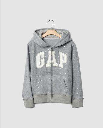 c1ec434b4 Sudadera de niña Gap en gris con cremallera
