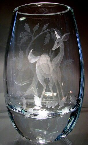 Doe In Fall Hand Engraved Crystal Vase By Catherine Miller Of