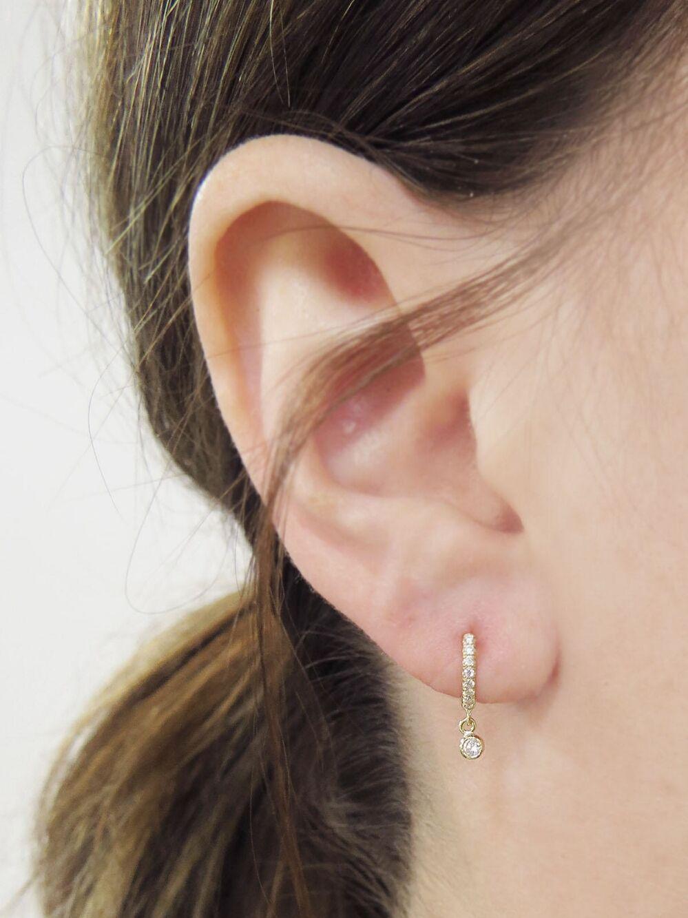 34570266e3059 Bezel Drop and Pavé Diamond Huggie Hoop Earrings - Yellow Gold in ...