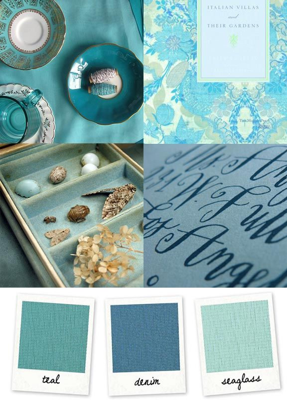 Palette Teal Denim Blue Seaglass Clockwise From Top Left