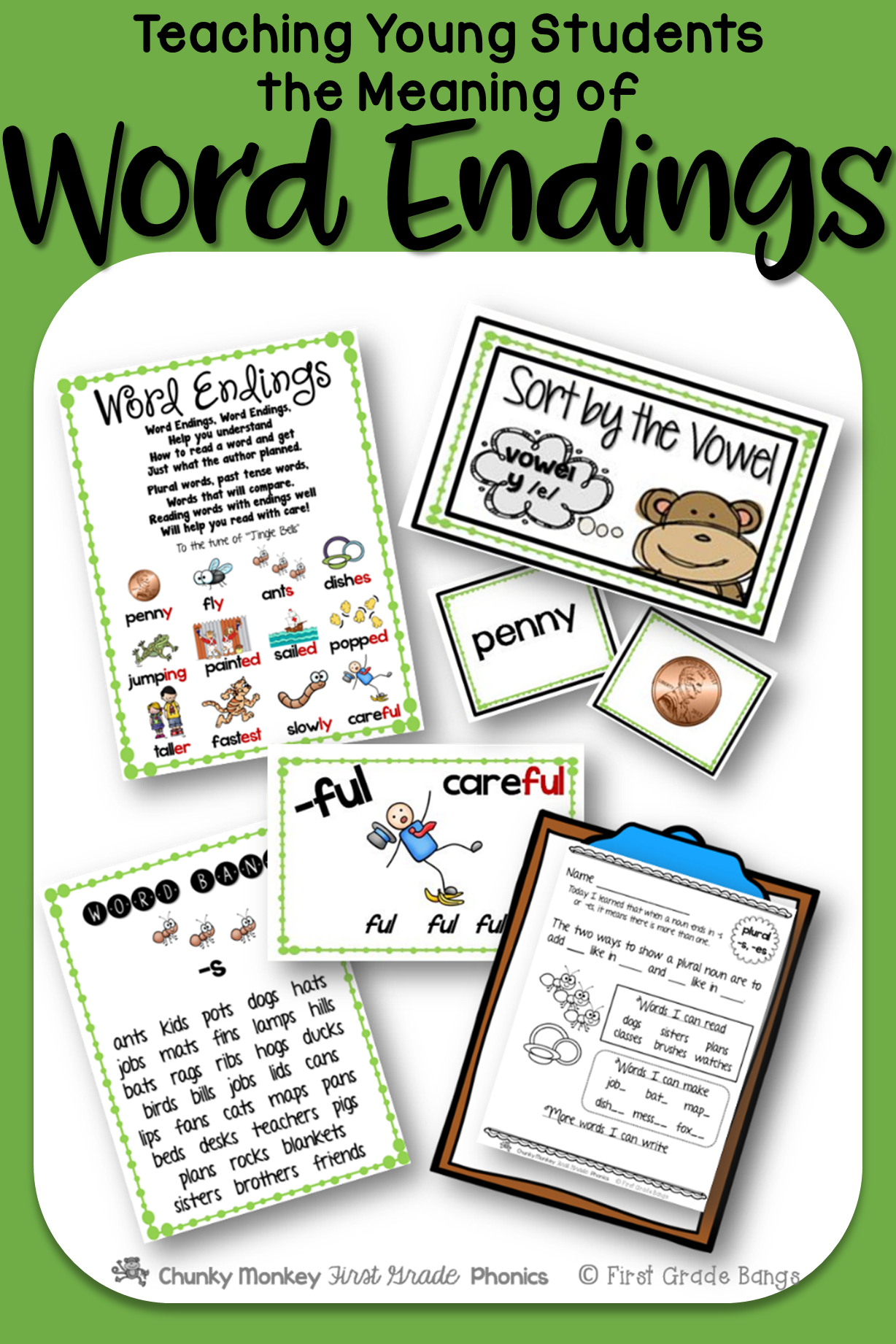 Word Endings Phonics Unit Word Work And Literacy Center