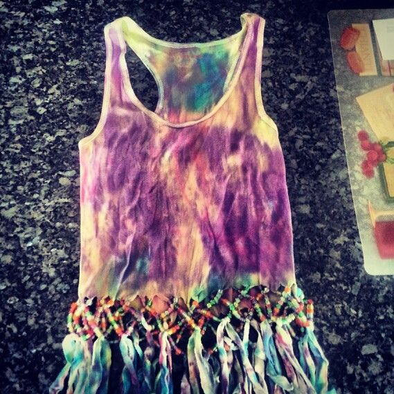 0d34ba71a3ccc Tie dye beaded fringe shirt I made! :)   My Style   Beaded fringe ...