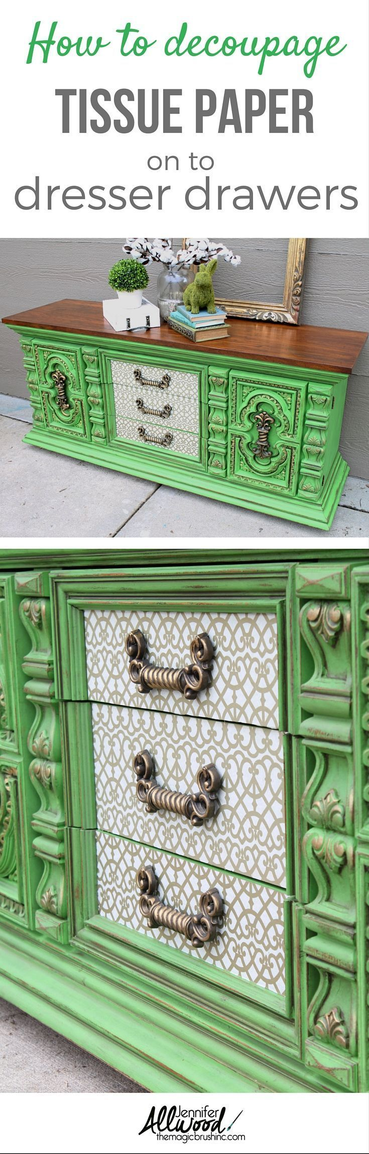 Ideas : Tutorial on how to decoupage tissue paper on to dresser drawers. Check out this furniture makeover using a  bold green apple color and decoupaged tissued drawers. More Painting tips, color advice and DIY projects at theMagicBrushinc.com #paintedfurniture #furniture #dresser #diy #howto #diyhomedecor #painting #decoupage
