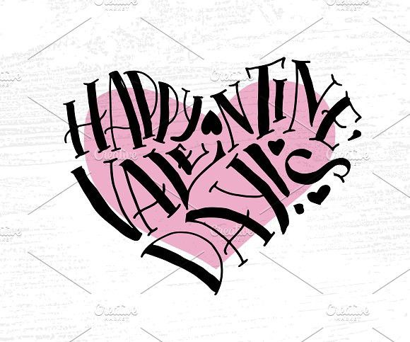 Happy Valentine S Day Lettering Romantic Fonts And Fonts