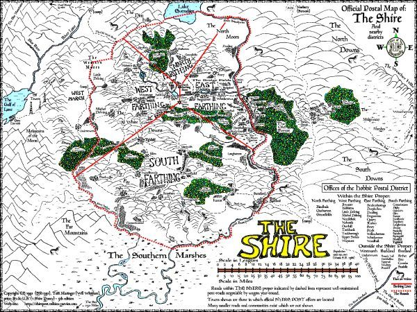 Map Of The Shire Small Shire Map | Maps in 2019 | Tolkien map, Map, Hobbit book