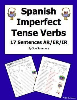 spanish imperfect tense verbs worksheet 17 sentences spanish summer and sentences. Black Bedroom Furniture Sets. Home Design Ideas