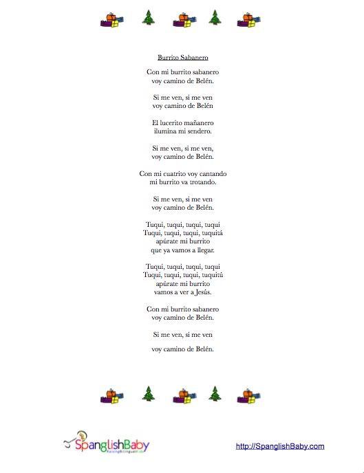 Villancico Burrito Sabanero Printable Lyrics Lyrics Printables Teaching