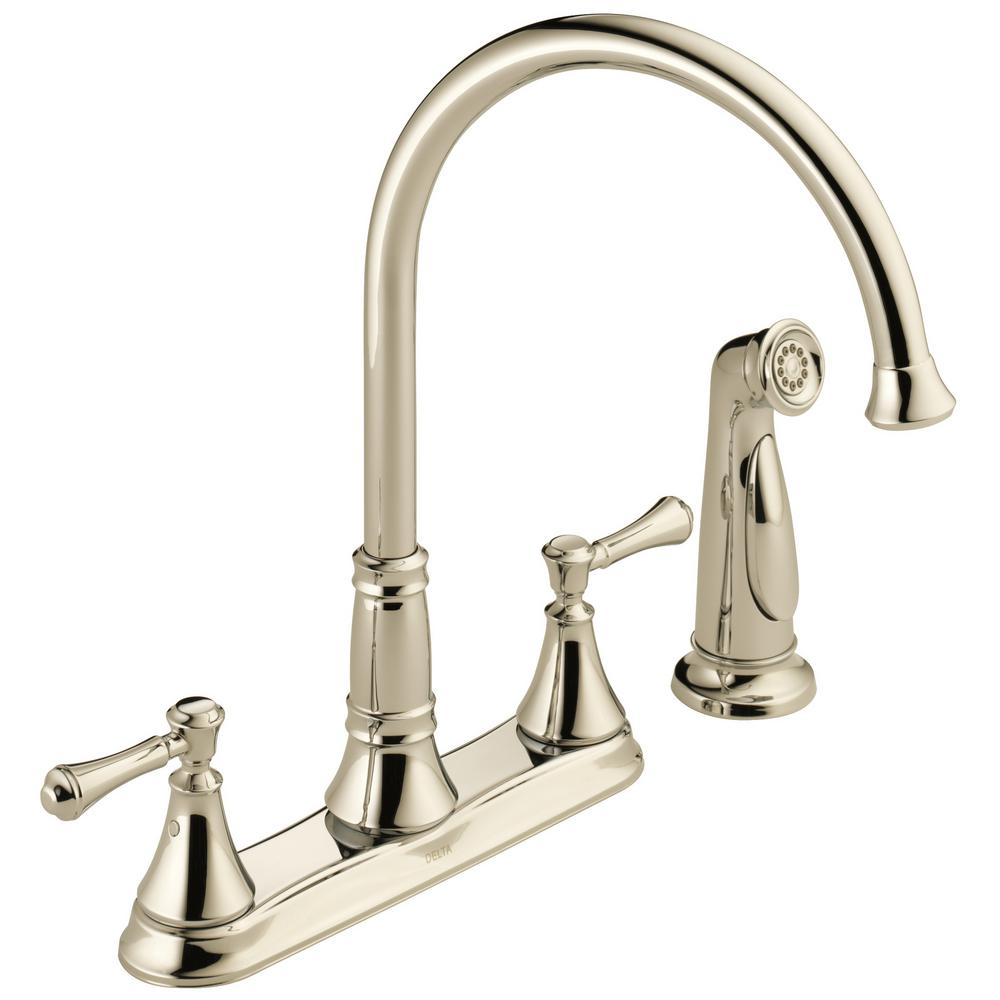 Delta Cassidy 2 Handle Standard Kitchen Faucet With Side Sprayer